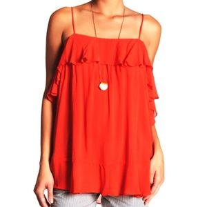 Free People Cascades Camisole Ruffle Top Fire S L